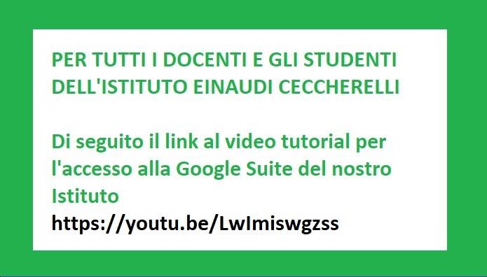 Tutorial accesso alla Google Suite