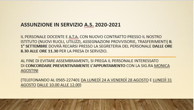 Assunzione in servizio 2020-2021