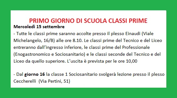 PRIMO GIORNO DI SCUOLA CLASSI PRIME